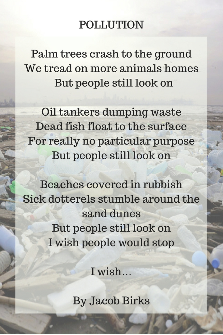 Palm trees crash to the groundWe tread on more animals homes. But people still look on.Oil tankers dumping waste.Dead fish float to the surface.For really no particular purpose.But peopl